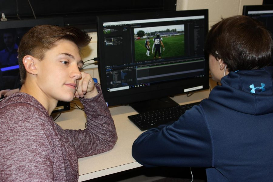 Junior Kameron Grassi and Joey Wojo pretend to work on project while Mr. Smith pretends not to notice. Although it appears that Grassi and Wojo are hard at work, they were just previously yelled at by Mr. Smith to stop watching Youtube and do some actual work.