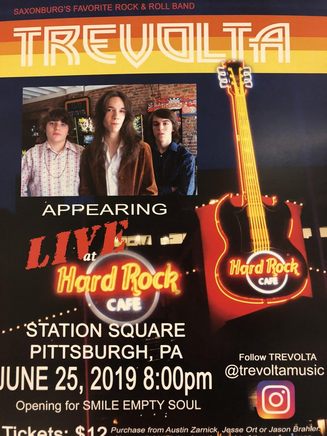 Jesse (center) and the band will be playing at Hard Rock Cafe June 25th, at 8:00 pm.