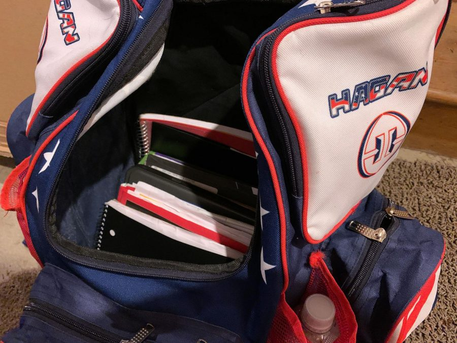 Inside KP's book bag.